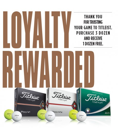 Titleist Loyalty Rewarded Pro V1 /AVX balls( 4 for 3 doz)